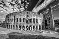 Colosseum in black and white style rome italy famous during spring time Stock Photo