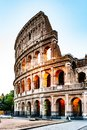 Colosseum, or Coliseum. Illuminated huge Roman amphitheatre early in the morning, Rome, Italy Royalty Free Stock Photo