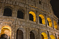 Colosseum at night- the main tourist attractions of Rome, Italy. Ancient Rome Ruins of Roman Civilization. Royalty Free Stock Photo