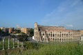 Colosseum from the palatine a view of famous roman in rome italy hill Royalty Free Stock Photos