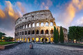 Colosseum in Rome at dusk, Italy Royalty Free Stock Photo
