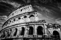 Colosseum in Rome, Italy. Amphitheatre in black and white Royalty Free Stock Photo