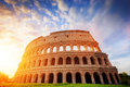Colosseum in Rome, Italy. Amphitheatre in sunrise light. Royalty Free Stock Photo