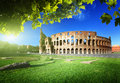 Colosseum in rome italy sunset and Royalty Free Stock Image