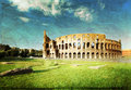 Colosseum in rome italy sunset and Royalty Free Stock Photos
