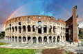 Colosseum in Rome at sunset Royalty Free Stock Photo