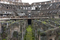 The colosseum ruins of basement of colisseum in rome italy Stock Image