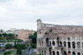 Colosseum seen from the Roman forum on a cloudy day
