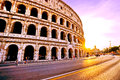 Colosseum at sunset in Rome Royalty Free Stock Photo