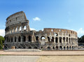 Colosseum under a blue sky street view of the ancient in rome italy horizontal shot Stock Image