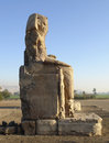 Colossi of memnon the two huge ancient statues near luxor in egypt africa at evening time Royalty Free Stock Photos