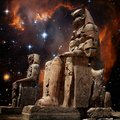 Colossus of Memnon and Small Magellanic Cloud (Elements of this Royalty Free Stock Photo