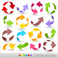 Colour arrows collection of color on a white background Stock Photography