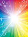 Colour blast background a colourful radiates with the spectrum of the rainbowm light and stars Stock Photo