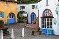 Colour buildings in the grounds of portmeirion wales uk Stock Image