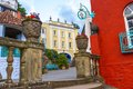 Colour cottages in the grounds of portmeirion in north wales uk Royalty Free Stock Image