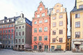 Colour houses facades of on the area of city stockholm Stock Photos