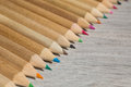 Colour pencils, flat lay, colored pencils lay in a heap, school design