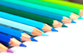 Colour pencils a group of colourful lined up side by side Royalty Free Stock Photos