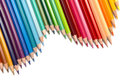 Colour pencils a group of colourful lined up in a wave configuration Royalty Free Stock Images