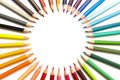 Colour pencils a group of colourful surruonding a white space Royalty Free Stock Photos