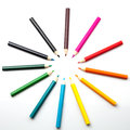 Colour pencils on white background Royalty Free Stock Photo