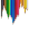 Colour pencils on white background Royalty Free Stock Images