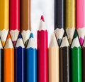 Colour pencils on white background - can use for background Royalty Free Stock Photo