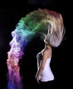 Colour powder photo shoot high speed photography of colored flour holi creative portrait photography with flour Royalty Free Stock Photo