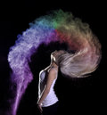 Colour powder photo shoot high speed photography of colored flour holi creative portrait photography with flour Stock Photo