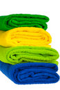 Colour terry towels combined by pile Royalty Free Stock Photos