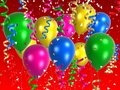 Coloured balloon with ribbons Stock Image
