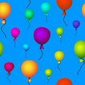 Coloured balloons flying in sky seamless Stock Photo