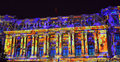 Coloured building at bucharest international light festival romania Stock Photography