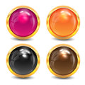 Coloured buttons are in a gold frame Royalty Free Stock Photos