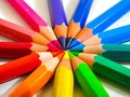 Coloured crayons simulating rainbow Royalty Free Stock Photo