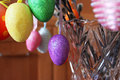 Coloured Easter eggs on the willow branches