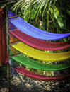 Coloured hammocks mekong delta vietnam Stock Photos