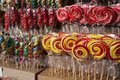 Coloured lollipops at a fair stand Royalty Free Stock Photo