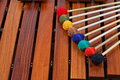 Coloured mallets on marimba Stock Photography