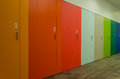 Coloured and numbered cupboards a row of Royalty Free Stock Photography