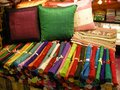 Coloured silk cloth found here in a shop selling and fabric in siem reap cambodia Royalty Free Stock Images
