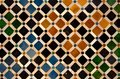 Coloured tiles in the Nasrid Palace, the Alhambra, Granada, Spain. Royalty Free Stock Photo