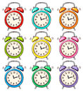 Colourful alarm clock set of Royalty Free Stock Photos