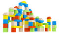 Colourful array of different building blocks Stock Photo