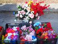 Colourful Artificial Flowers at Greek Street market, Greece Royalty Free Stock Photo