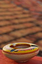 Colourful ashtray at rooftop balcony during home stay in trinidad cuba Royalty Free Stock Photo