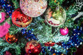 Colourful balls on Christmas tree Royalty Free Stock Photo