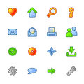 Colourful basic web icons Stock Photography