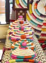 Colourful baskets made os date palm leaves basket making craft from are traditional practices in the middle east this is still Stock Photo